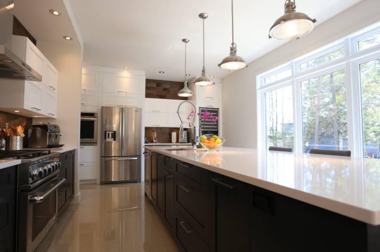 Quarts Countertop, Walnut Cabinets, Clean Lines , Modern Kitchen - Fine Line Grande Prairie